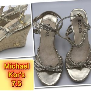 Michael Kor's Gold Wedge super Cute shoe 7.5